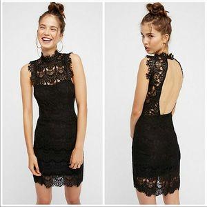 Free People Daydream Black Lace Open Back Dress